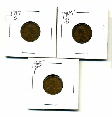 1945 P,d,s Wheat Pennies Lincoln Cents Circulated 2X2 Flips 3 Coin Pds Set#3422