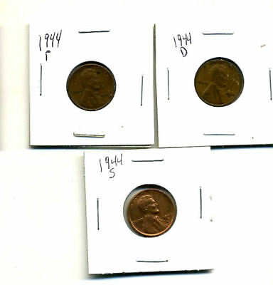 1944 P,d,s Wheat Pennies Lincoln Cents Circulated 2X2 Flips 3 Coin Pds Set#3553