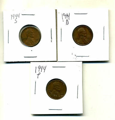 1944 P,d,s Wheat Pennies Lincoln Cents Circulated 2X2 Flips 3 Coin Pds Set#3530