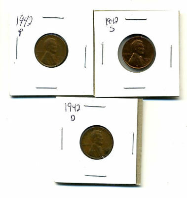 1942 P,d,s Wheat Pennies Lincoln Cents Circulated 2X2 Flips 3 Coin Pds Set#3179