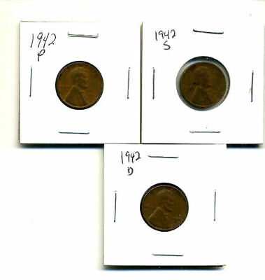 1942 P,d,s Wheat Pennies Lincoln Cents Circulated 2X2 Flips 3 Coin Pds Set#3183