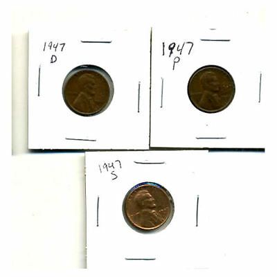 1947 P,d,s Wheat Pennies Lincoln Cents Circulated 2X2 Flips 3 Coin Pds Set#3004