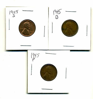1945 P,d,s Wheat Pennies Lincoln Cents Circulated 2X2 Flips 3 Coin Pds Set#3208