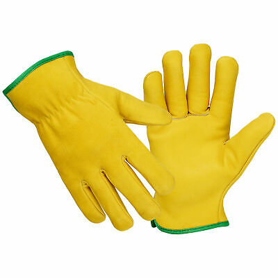 Driver Gloves Fleece Lined Leather Lorry Drivers Work Gloves Premium Quality UK