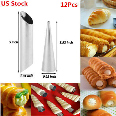 US 12Pcs Non-Stick Dessert Cake Cannoli Form Tubes Cream Roll Horn DIY Molds