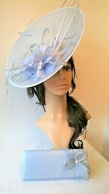 New Iced Blue Sinamay saucer disc loops ,crystal stamens ,feathers Wedding.races