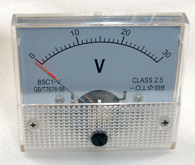 DC 30V Analog Panel Voltmeter Volt Voltage Meter Gauge 85C1 Class 2.5 DC 0-30V