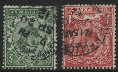 1911 ½d & 1d DOWNEY HEAD CROWN INVERTED WMK VERY FINE USED PAIR. SG 325Wi-329Wi