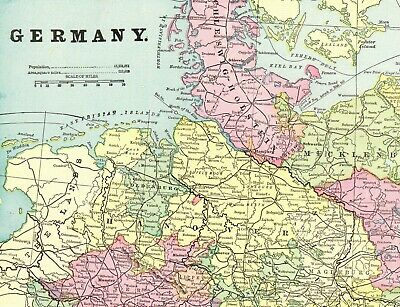 Map Of Germany 1900.1900 Antique Map Of Germany Vintage Germany Map Gallery Wall Art 6463