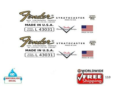 Fender Stratocaster Guitar Decal Headstock Restoration Logo 110