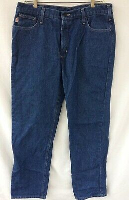 2e161906 Mens Carhartt 2112 FR Flame Fire Resistant Blue Jeans Sz 38x34 Relaxed Fit  CAT 2