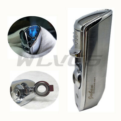 JOBON Triple Flame Torch Jet Butane Cigar Cigarette Lighter w/ Box Punch Silver