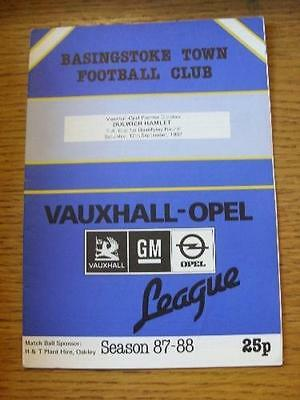 12/09/1987 Basingstoke Town v Dulwich Hamlet [FA Cup] . Item In very good condit
