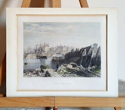 Original Antique Engraving Print, Burlington Quay, G. Balmer, J. Stephenson