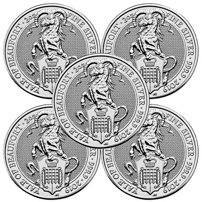 Lot of 5 - 2019 U.K. 5 Pound Silver Queen's Beast Yale of Beaufort .9999 2 oz BU