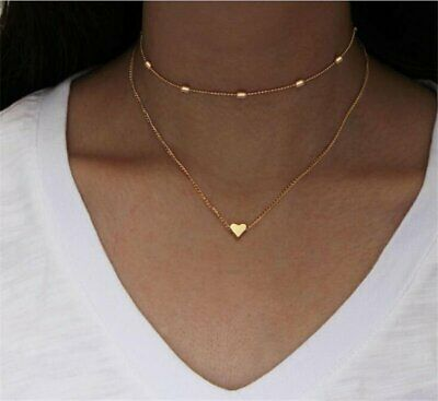 Fashion Simple Double Layers Heart Pendant Necklace Chain Choker Women Jewelry