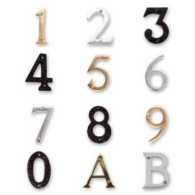 BLACK BRASS CHROME HOUSE NUMBERS/LETTERS & SCREWS 75mm Front Door Plaque Gate