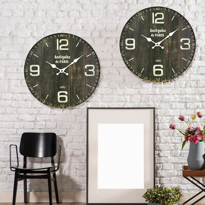 Set of 2 Vintage Wood Wall Watches Writing Dining Room Time Display Decoration