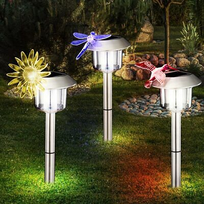 Led Solar Exterior Ground Spike Lights Colour Changing Garden Path