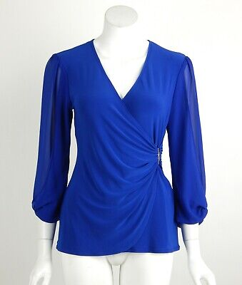 Joseph Ribkoff Top Blouse Blue V-Neck Ruched Sheer Sleeves Metal Accent Sz 8 New