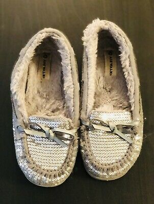 f42b649ddd50f Airwalk Girls Size 13- Silver Sequin Moccasin Style Shoes / Slippers  EXCELLENT
