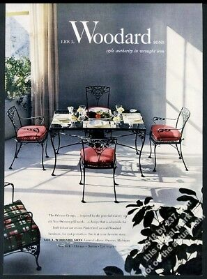 1952 Woodard wrought iron Orleans Group chair table photo print ad