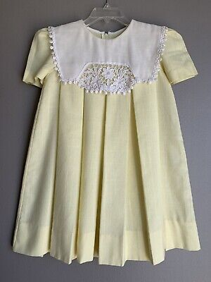 d77d94ae18d9 Jayne Copeland Vintage Girls Dress 4 Size Short Sleeve Yellow White Collar