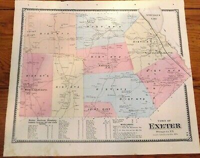 1868 NY Town of Exeter Otsego Co Beers Atlas Map