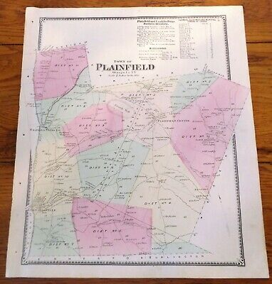 1868 NY Town of Plainfield Otsego Co Beers Atlas Map