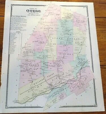 1868 NY Town of Otego Otsego County Beers Atlas Map