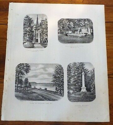 1868 NY Scenes on Schuyler Lake Cooperstown Otsego County Beers Atlas Map