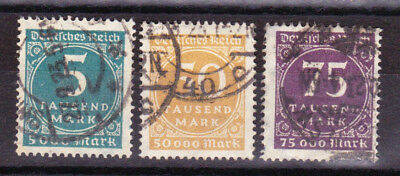 """Germany Deutsches Reich 1923 Mi. Nr. 274-276 """"Number in Circle"""" Used"""