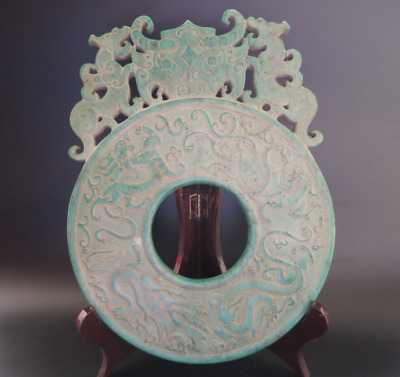 "Ancient China Han Dynasty Old Turquoise Jade dragon and phoenix ""Bi"" Figure 699g"