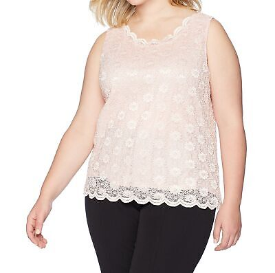 fb819c66864 Tahari by ASL NEW Pink Women s Size 1X Plus Scallop Lace Tank Top  69  202