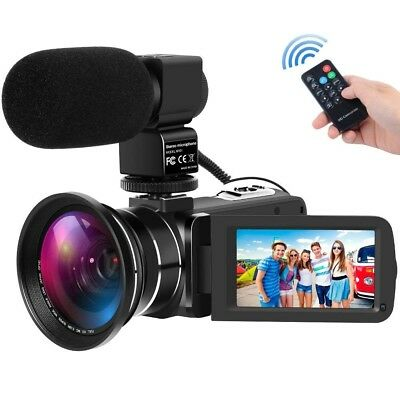 Full HD 1080P 30FPS 24MP Digital Video Camera Camcorder Recorder DV + Mic + Lens