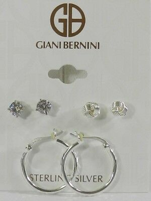 237d38a7a Giani Bernini Sterling Silver 3-Pc. Set Cubic Zirconia Stud & Hoop Earrings