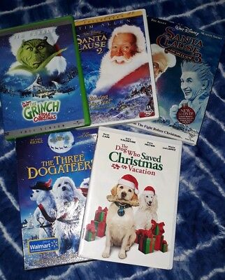 DISNEY~CHRISTMAS DVD LOT (5)The Grinch-The Santa Clause 2&3 Plus 2 More Movies!