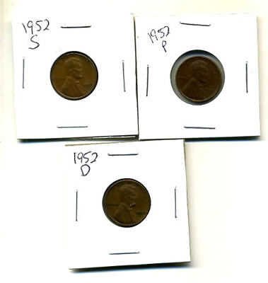 1952 P,d,s Wheat Pennies Lincoln Cents Circulated 2X2 Flips 3 Coin Pds Set#542