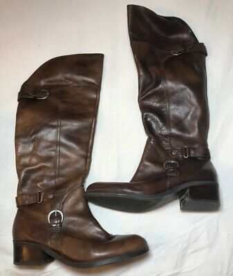 a2549f89929 AUDREY BROOKE LEATHER Tall Boots 7.5M Brown Buckles Riding Calf High