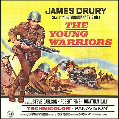 THE YOUNG WARRIORS original 1966 large WW2 6-sheet movie poster JAMES DRURY