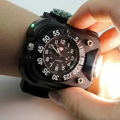 Outdoor Running LED Display Rechargeable Wrist Watch Flashlight Torch Campass