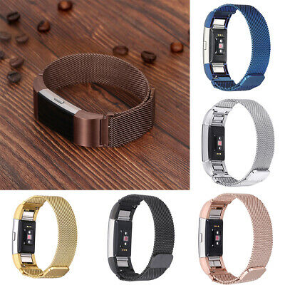 Stainless Steel Mesh Magnetic Loop Band for Fitbit Charge 2 Wristband Safe