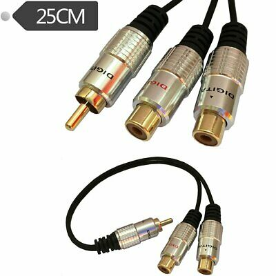 25CM RCA Splitter Cable 1 RCA Male to 2 RCA Phono Female Y Audio Adapter Cord