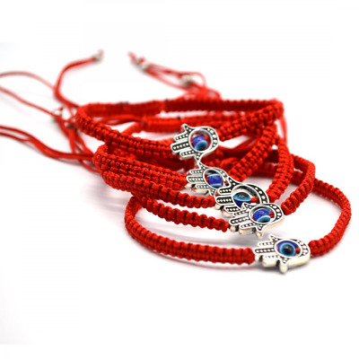 HAMSA HAND Good Luck Charm Evil Eye Protection RED String Bracelet Kabbalah 5pc