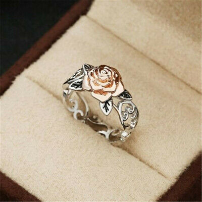 Exquisite 14k Rose Gold Flower Two Tone 925 Silver Floral Ring Wedding Jewelry