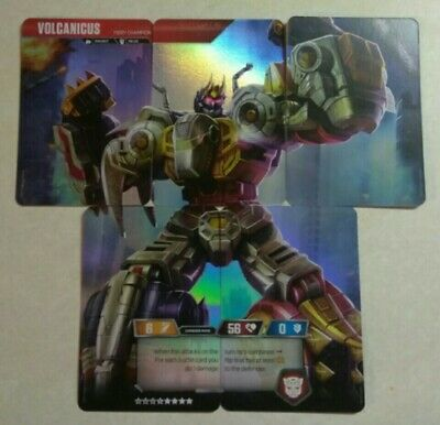 Transformers TCG VOLCANICUS Dinobots Complete 5 card RARE Set Rise of Combiners!
