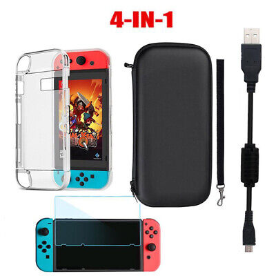 For Nintendo Switch Bag Travel Case, Charging Cable,Protector Shell TPU Cover