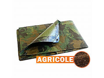 Bâche protection Agricole - Camouflage 150 g/m² - 1.8 x 3 m - serre tunnel - bâc