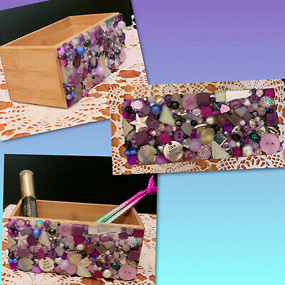 Bamboo Storage Caddy With Mosaic Bead Art Decoration - Handmade With Swarovski