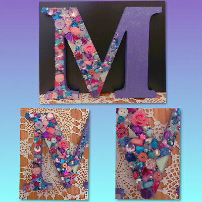 Bead Art Initial 'M' Purple, Pink, Blue - Handmade With Swarovski - Custom Avail